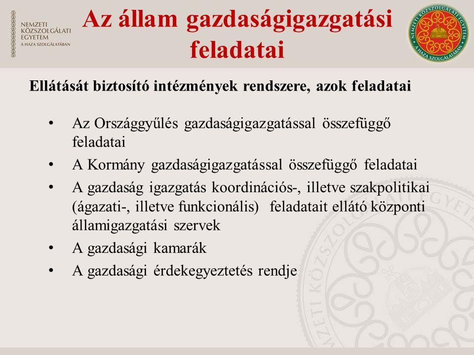 Az állam gazdaságigazgatási feladatai Az Országgyűlés gazdaságigazgatással összefüggő feladatai A Kormány gazdaságigazgatással összefüggő feladatai A