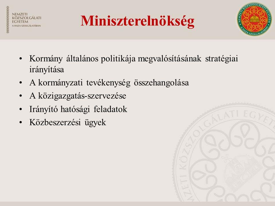 Miniszterelnökség Kormány általános politikája megvalósításának stratégiai irányítása A kormányzati tevékenység összehangolása A közigazgatás-szervezése Irányító hatósági feladatok Közbeszerzési ügyek