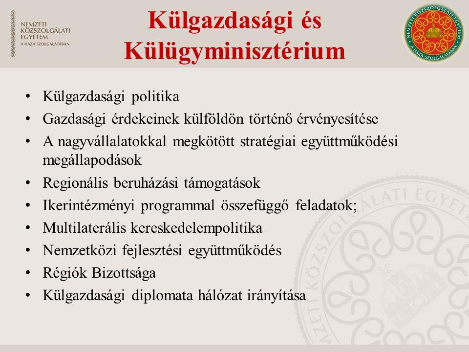 Külgazdasági és Külügyminisztérium Külgazdasági politika Gazdasági érdekeinek külföldön történő érvényesítése A nagyvállalatokkal megkötött stratégiai együttműködési megállapodások Regionális beruházási támogatások Ikerintézményi programmal összefüggő feladatok; Multilaterális kereskedelempolitika Nemzetközi fejlesztési együttműködés Régiók Bizottsága Külgazdasági diplomata hálózat irányítása