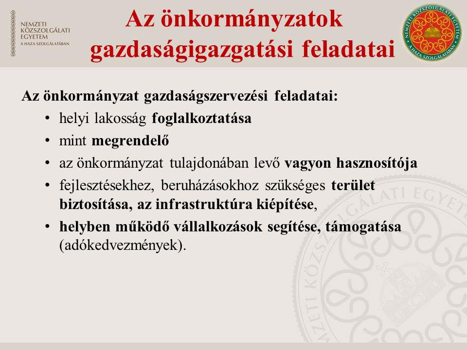 Az önkormányzatok gazdaságigazgatási feladatai Az önkormányzat gazdaságszervezési feladatai: helyi lakosság foglalkoztatása mint megrendelő az önkormá