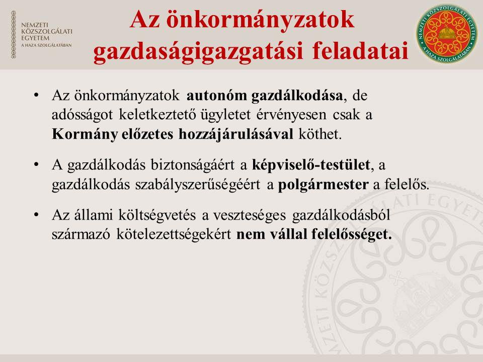 Az önkormányzatok autonóm gazdálkodása, de adósságot keletkeztető ügyletet érvényesen csak a Kormány előzetes hozzájárulásával köthet. A gazdálkodás b