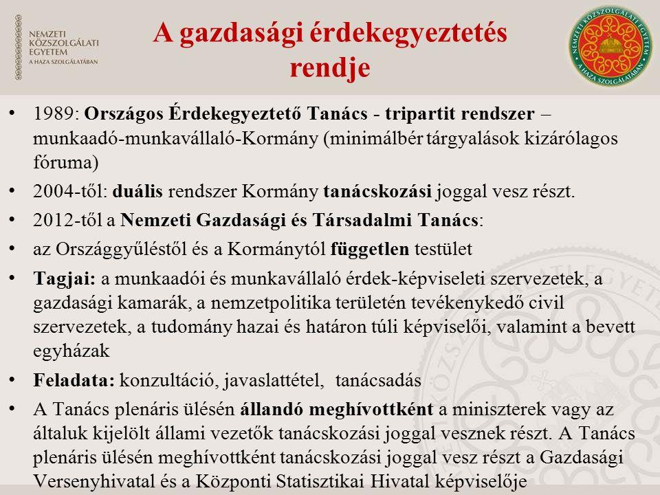 A gazdasági érdekegyeztetés rendje 1989: Országos Érdekegyeztető Tanács - tripartit rendszer – munkaadó-munkavállaló-Kormány (minimálbér tárgyalások kizárólagos fóruma) 2004-től: duális rendszer Kormány tanácskozási joggal vesz részt.