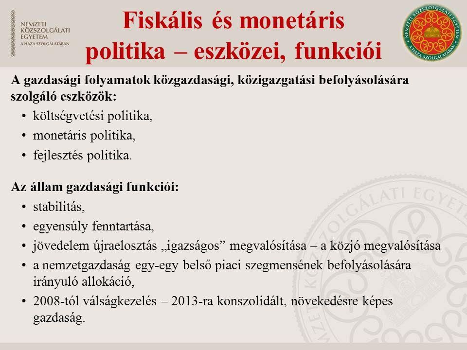 Fiskális és monetáris politika – eszközei, funkciói A gazdasági folyamatok közgazdasági, közigazgatási befolyásolására szolgáló eszközök: költségvetés