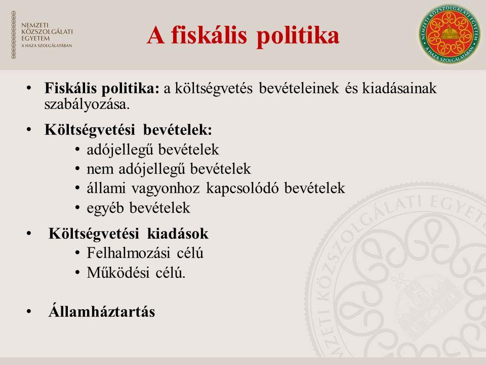 A fiskális politika Fiskális politika: a költségvetés bevételeinek és kiadásainak szabályozása. Költségvetési bevételek: adójellegű bevételek nem adój