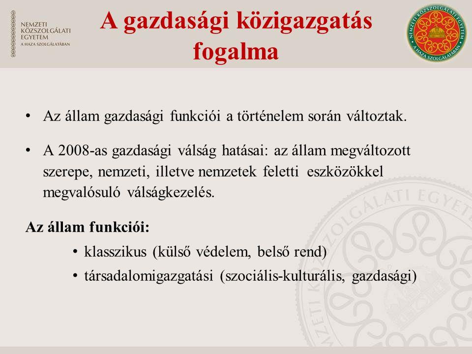 A gazdasági igazgatás államigazgatási szervezetrendszere Kormány Meghatározza és irányítja az ország gazdaságpolitikáját Jogszabály alkotás és törvények végrehajtása.