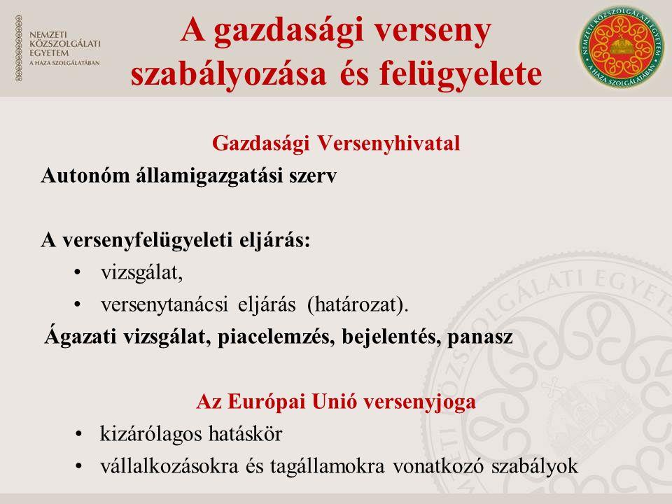 Gazdasági Versenyhivatal Autonóm államigazgatási szerv A versenyfelügyeleti eljárás: vizsgálat, versenytanácsi eljárás (határozat).