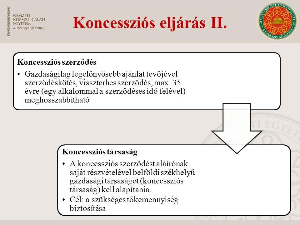 Koncessziós eljárás II. Koncessziós szerződés Gazdaságilag legelőnyösebb ajánlat tevőjével szerződéskötés, visszterhes szerződés, max. 35 évre (egy al
