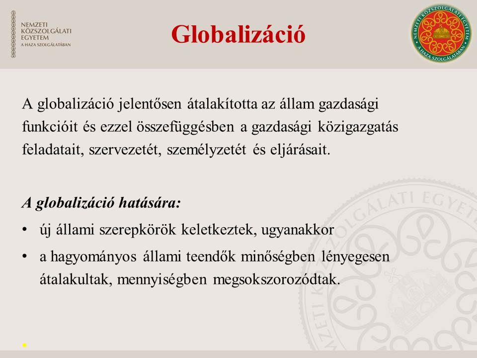 """Kiemelkedően fontos állami tevékenységfajták: makrogazdasági irányítás, nemzeti versenyképesség megőrzése, javítása, társadalmi kohézió elősegítése, állami (pénzügyi) ellenőrzés, """"humántőke fejlesztése, """"húzó ágazatok kijelölése, támogatása, érdekérvényesítési és koordinációs mechanizmusok működtetése, korrupció ellen harc és integritás."""