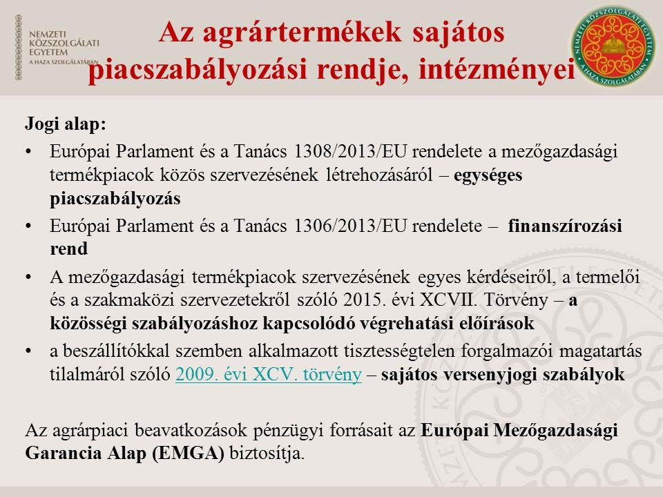 Az agrártermékek sajátos piacszabályozási rendje, intézményei Jogi alap: Európai Parlament és a Tanács 1308/2013/EU rendelete a mezőgazdasági termékpiacok közös szervezésének létrehozásáról – egységes piacszabályozás Európai Parlament és a Tanács 1306/2013/EU rendelete – finanszírozási rend A mezőgazdasági termékpiacok szervezésének egyes kérdéseiről, a termelői és a szakmaközi szervezetekről szóló 2015.