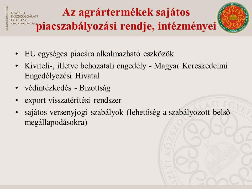 EU egységes piacára alkalmazható eszközök Kiviteli-, illetve behozatali engedély - Magyar Kereskedelmi Engedélyezési Hivatal védintézkedés - Bizottság