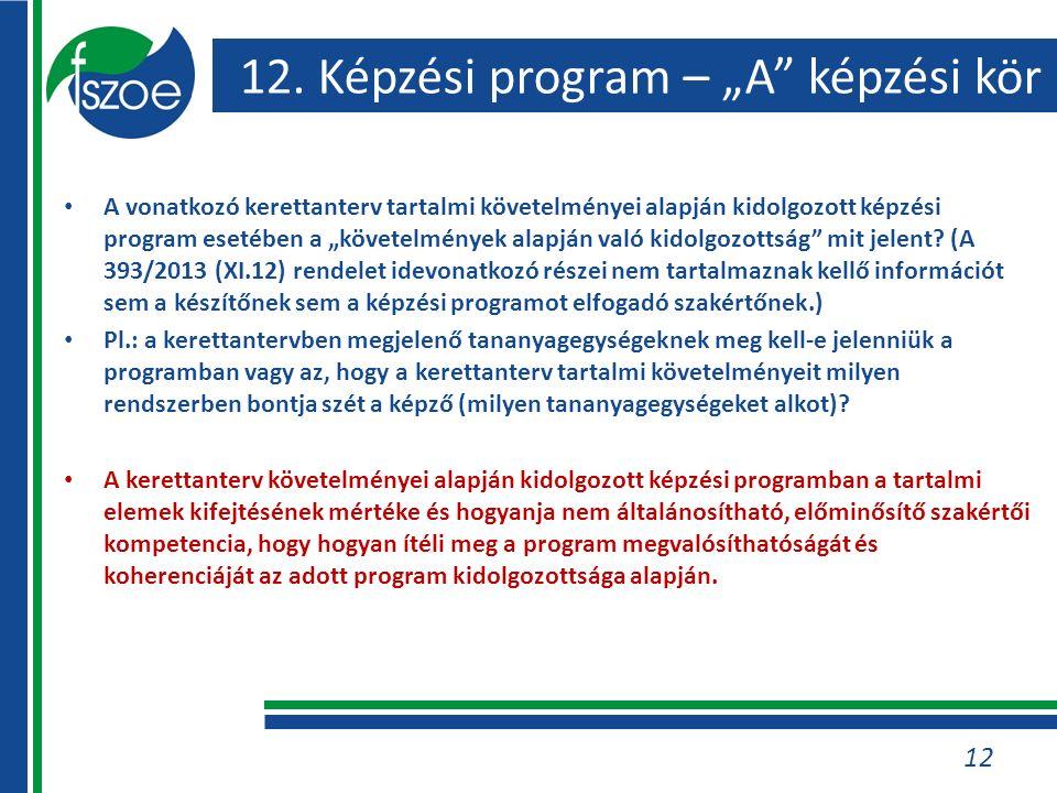 """12. Képzési program – """"A"""" képzési kör A vonatkozó kerettanterv tartalmi követelményei alapján kidolgozott képzési program esetében a """"követelmények al"""