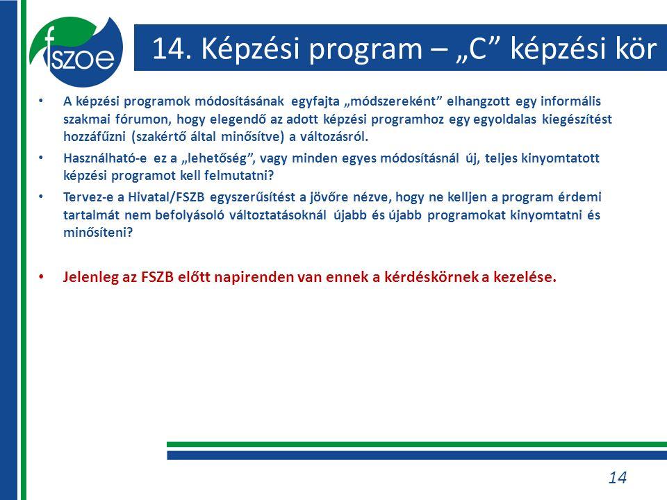 """14. Képzési program – """"C"""" képzési kör A képzési programok módosításának egyfajta """"módszereként"""" elhangzott egy informális szakmai fórumon, hogy elegen"""