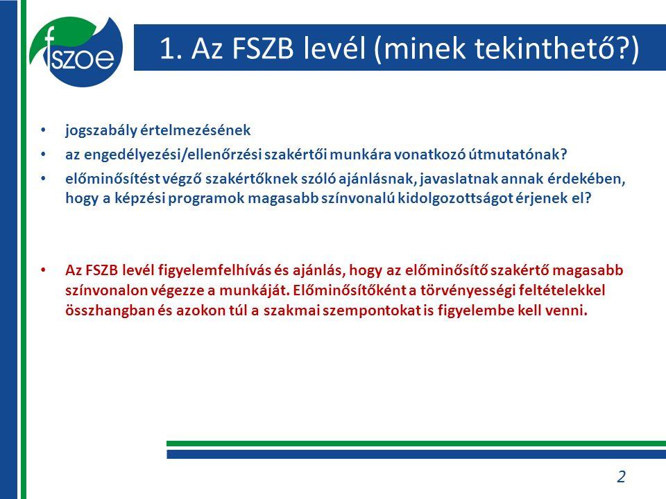 1. Az FSZB levél (minek tekinthető?) jogszabály értelmezésének az engedélyezési/ellenőrzési szakértői munkára vonatkozó útmutatónak? előminősítést vég