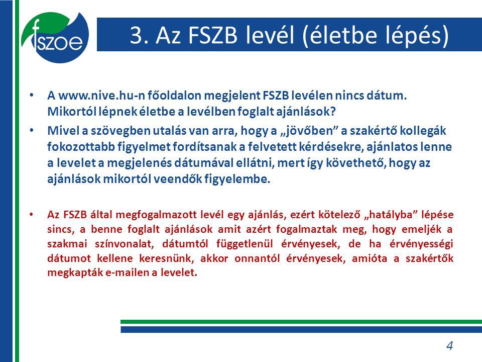 3. Az FSZB levél (életbe lépés) A www.nive.hu-n főoldalon megjelent FSZB levélen nincs dátum. Mikortól lépnek életbe a levélben foglalt ajánlások? Miv