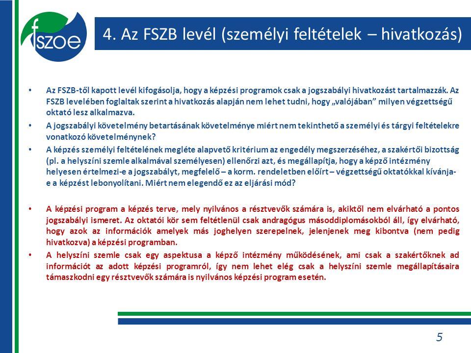 4. Az FSZB levél (személyi feltételek – hivatkozás) Az FSZB-től kapott levél kifogásolja, hogy a képzési programok csak a jogszabályi hivatkozást tart