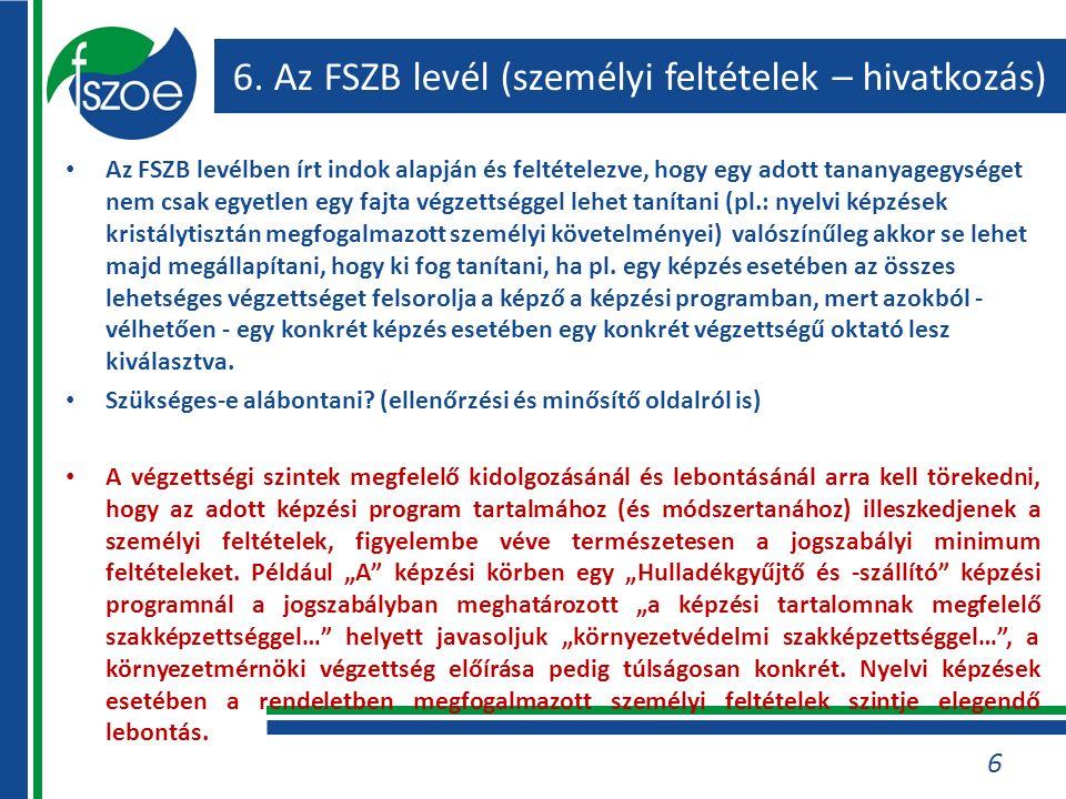 6. Az FSZB levél (személyi feltételek – hivatkozás) Az FSZB levélben írt indok alapján és feltételezve, hogy egy adott tananyagegységet nem csak egyet