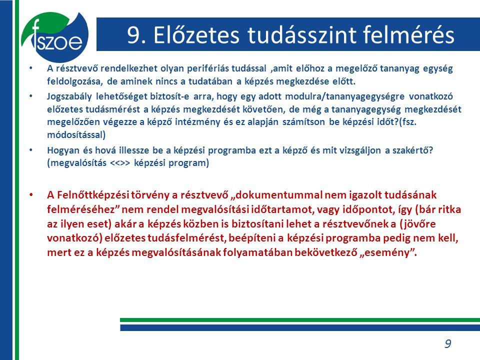 9. Előzetes tudásszint felmérés A résztvevő rendelkezhet olyan perifériás tudással,amit előhoz a megelőző tananyag egység feldolgozása, de aminek ninc