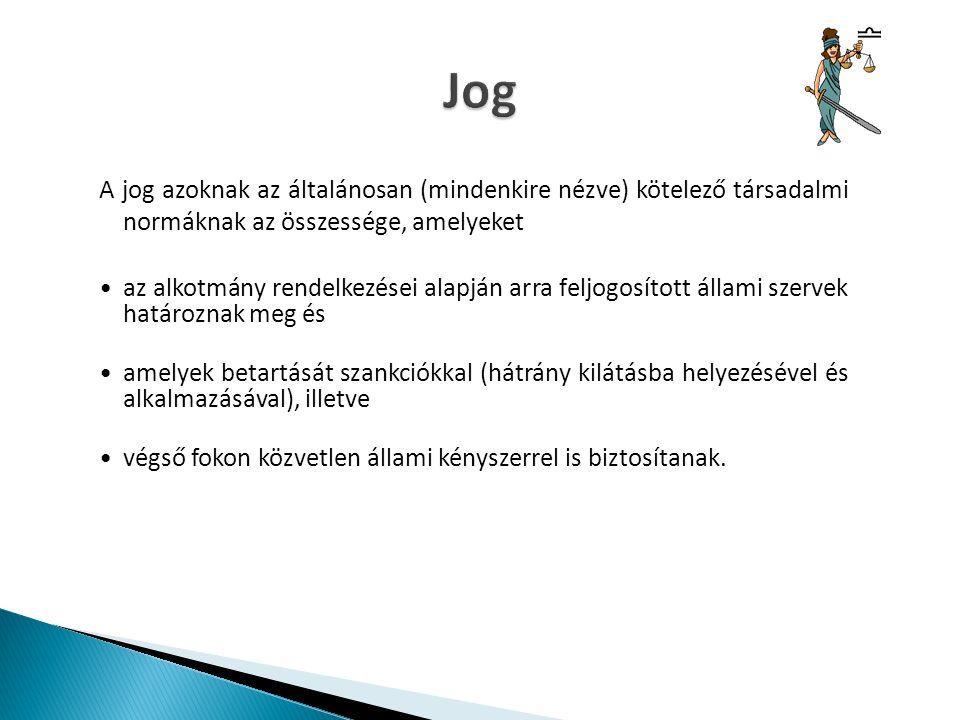 POLGÁRI JOGBŰNTETŐ JOGPÉNZÜGYI JOG jogág: jogszabály: PTKSZJA tvBTK jogszabály szerkezeti elemei: -hipotézis -diszpozíció -jogkövetkezmény (szankció)