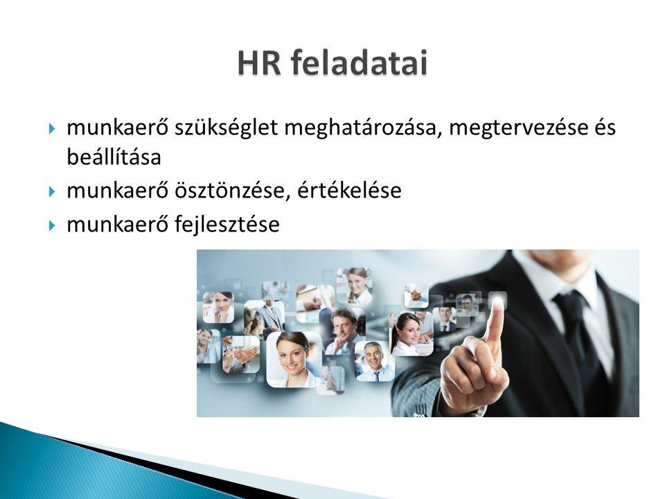  munkaerő szükséglet meghatározása, megtervezése és beállítása  munkaerő ösztönzése, értékelése  munkaerő fejlesztése
