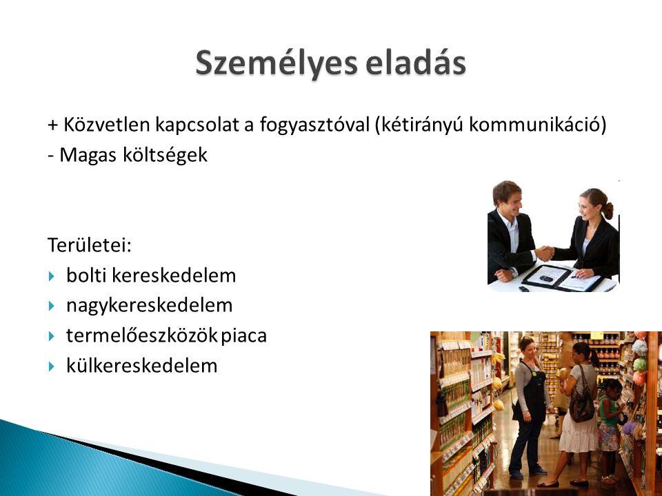 + Közvetlen kapcsolat a fogyasztóval (kétirányú kommunikáció) - Magas költségek Területei:  bolti kereskedelem  nagykereskedelem  termelőeszközök piaca  külkereskedelem