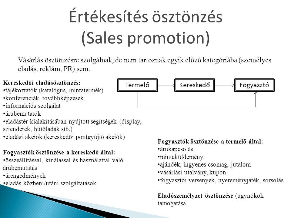 Értékesítés ösztönzés (Sales promotion) Vásárlás ösztönzésre szolgálnak, de nem tartoznak egyik előző kategóriába (személyes eladás, reklám, PR) sem.