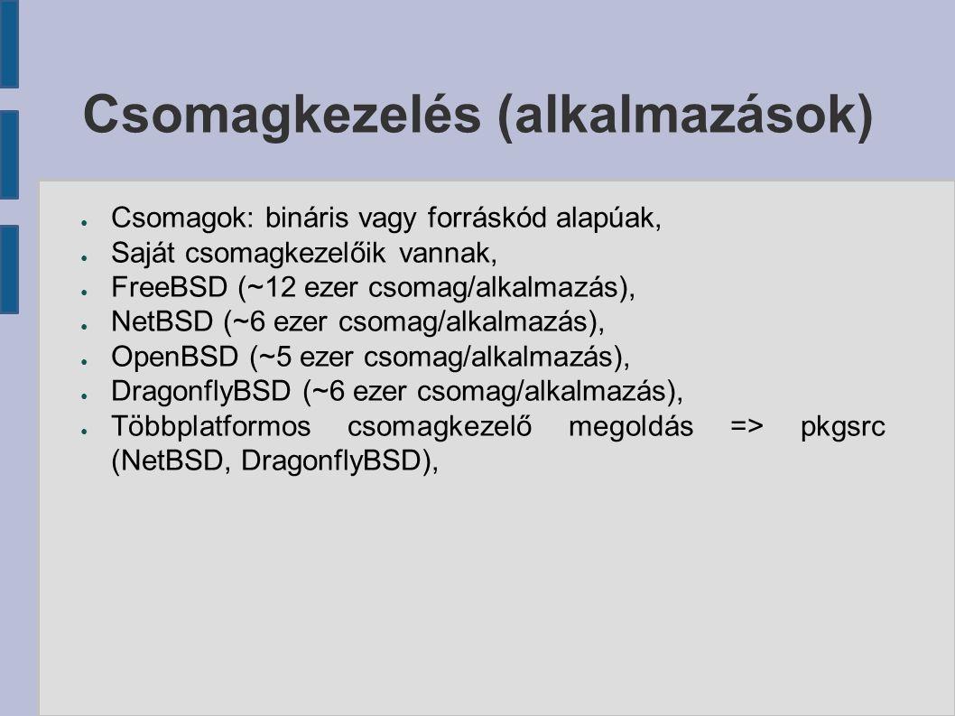 ● Csomagok: bináris vagy forráskód alapúak, ● Saját csomagkezelőik vannak, ● FreeBSD (~12 ezer csomag/alkalmazás), ● NetBSD (~6 ezer csomag/alkalmazás