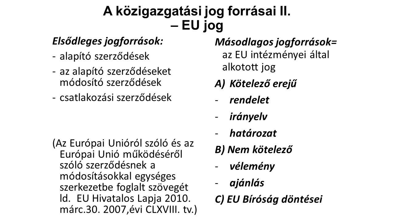 A közigazgatási jog forrásai II.