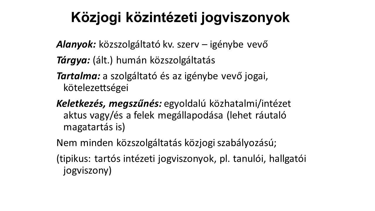 Közjogi közintézeti jogviszonyok Alanyok: közszolgáltató kv.