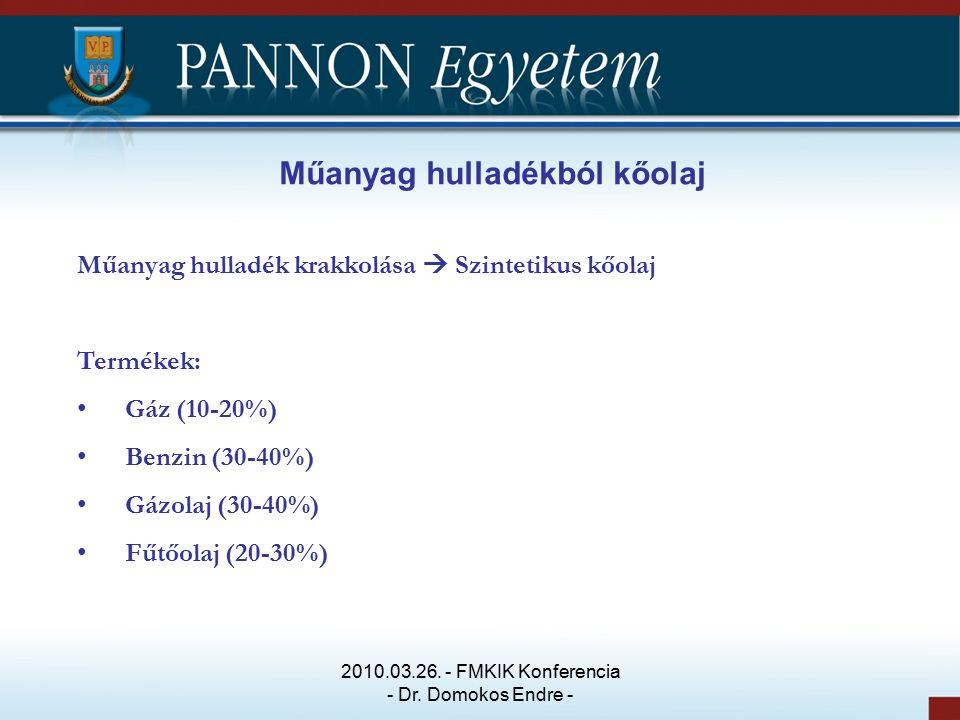 Műanyag hulladékból kőolaj Műanyag hulladék krakkolása  Szintetikus kőolaj Termékek: Gáz (10-20%) Benzin (30-40%) Gázolaj (30-40%) Fűtőolaj (20-30%) 2010.03.26.
