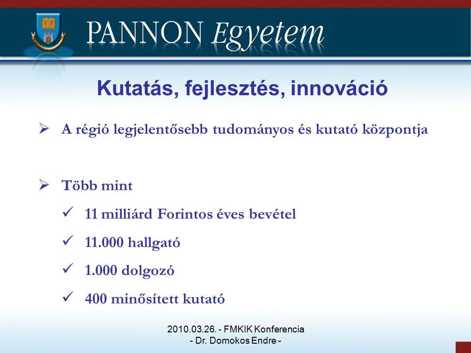 Kutatás, fejlesztés, innováció  A régió legjelentősebb tudományos és kutató központja  Több mint 11 milliárd Forintos éves bevétel 11.000 hallgató 1.000 dolgozó 400 minősített kutató 2010.03.26.