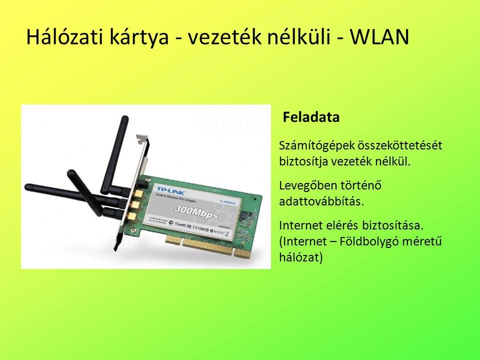 Hálózati kártya - vezeték nélküli - WLAN Számítógépek összeköttetését biztosítja vezeték nélkül.