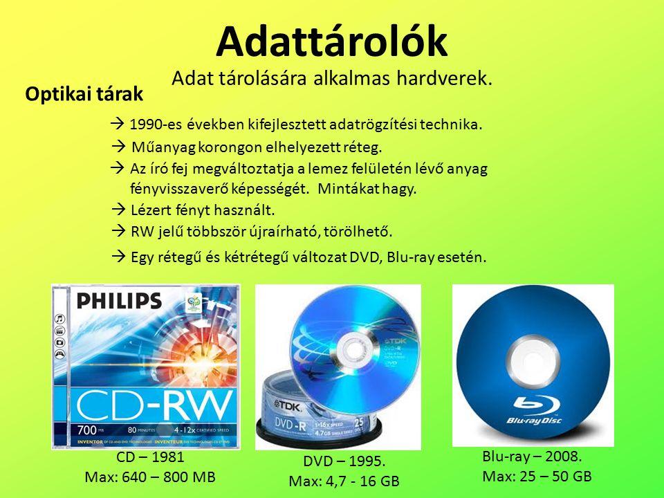 Adattárolók Optikai tárak Adat tárolására alkalmas hardverek.