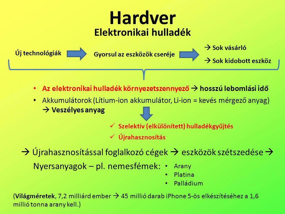 Hardver Elektronikai hulladék Az elektronikai hulladék környezetszennyező  hosszú lebomlási idő Akkumulátorok (Lítium-ion akkumulátor, Li-ion = kevés mérgező anyag)  Veszélyes anyag Szelektív (elkülönített) hulladékgyűjtés Újrahasznosítás Új technológiák Gyorsul az eszközök cseréje  Sok vásárló  Sok kidobott eszköz  Újrahasznosítással foglalkozó cégek  eszközök szétszedése  Arany Platina Palládium (Világméretek, 7,2 milliárd ember  45 millió darab iPhone 5-ös elkészítéséhez a 1,6 millió tonna arany kell.) Nyersanyagok – pl.