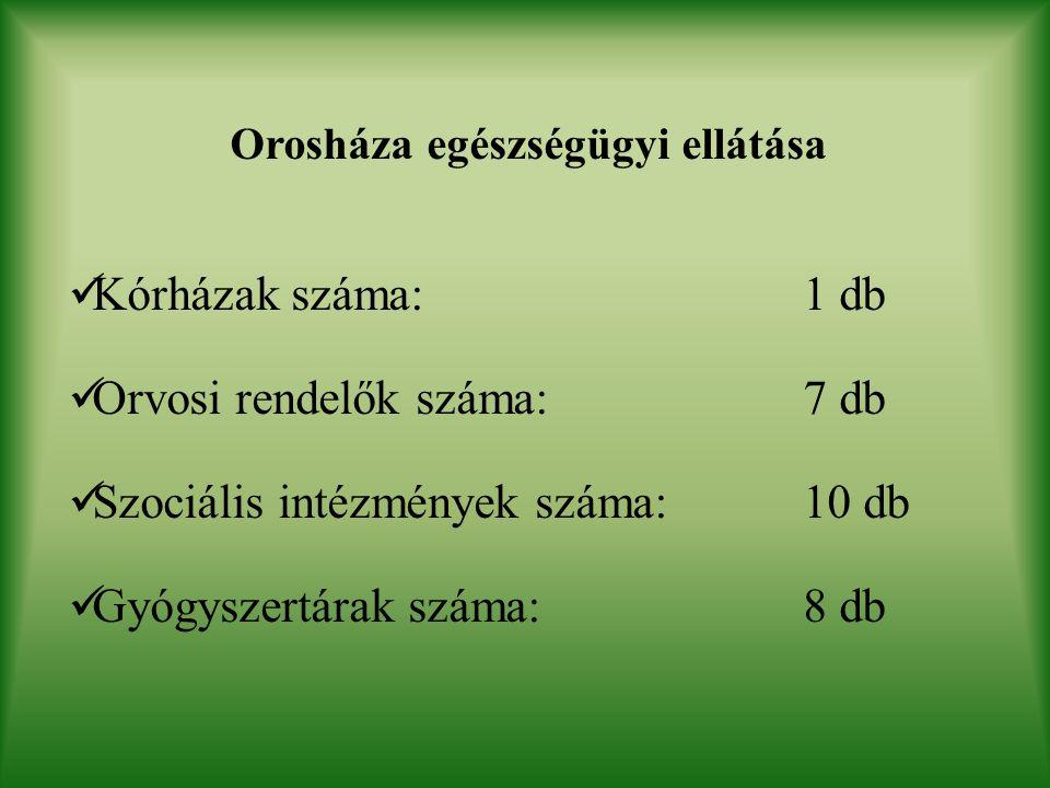 Orosháza egészségügyi ellátása Kórházak száma: 1 db Orvosi rendelők száma: 7 db Szociális intézmények száma: 10 db Gyógyszertárak száma: 8 db