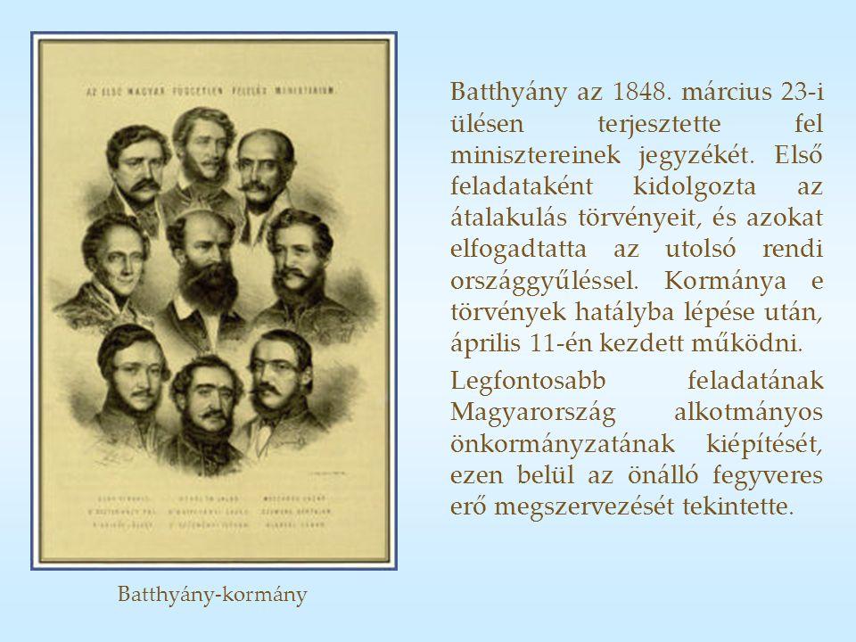 Batthyány az 1848. március 23-i ülésen terjesztette fel minisztereinek jegyzékét.