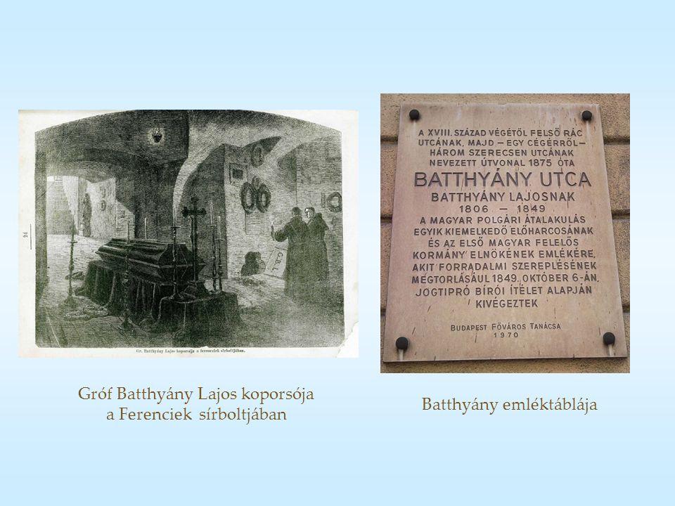 Gróf Batthyány Lajos koporsója a Ferenciek sírboltjában Batthyány emléktáblája