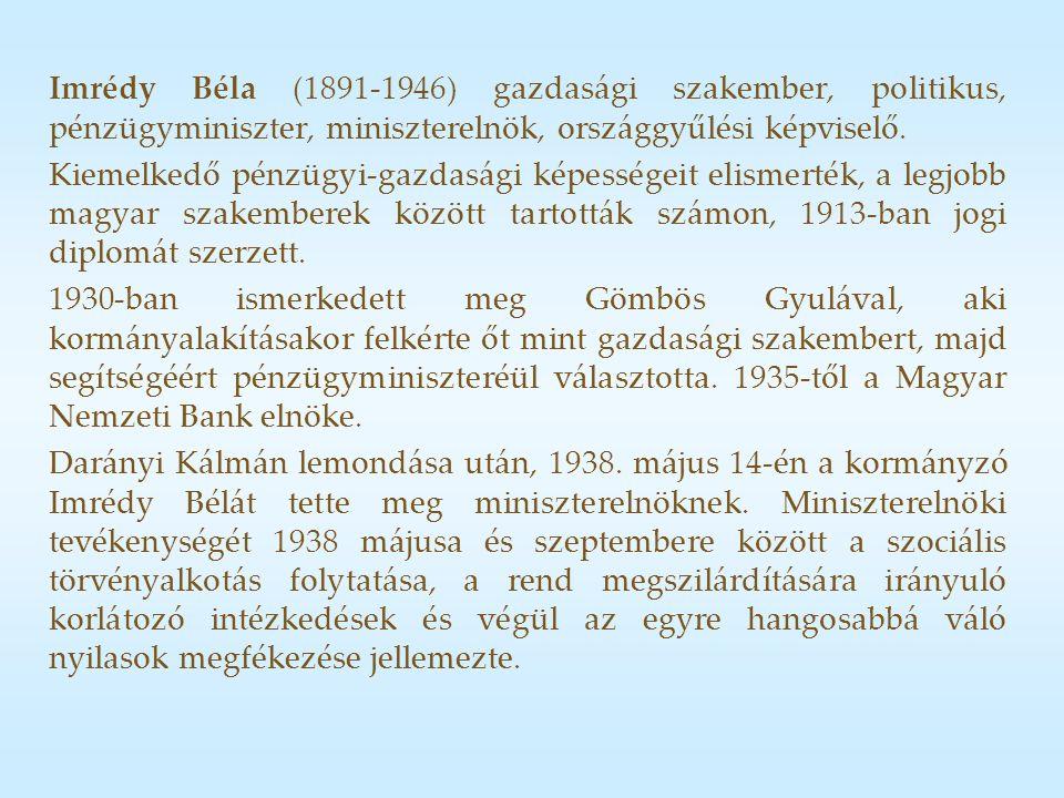 Imrédy Béla (1891-1946) gazdasági szakember, politikus, pénzügyminiszter, miniszterelnök, országgyűlési képviselő.