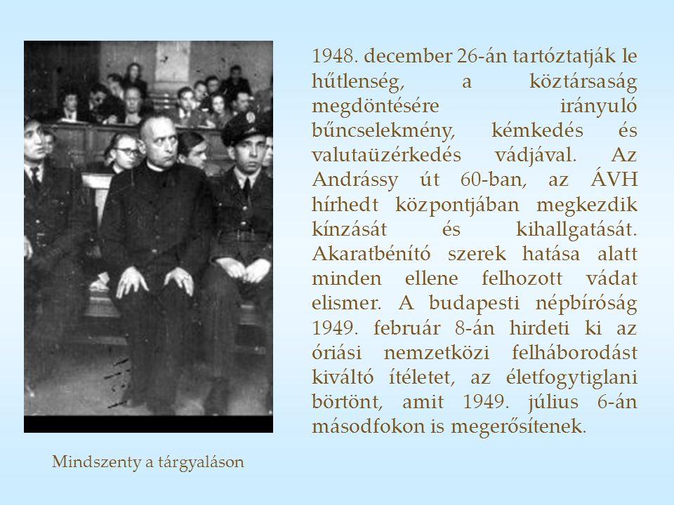Mindszenty a tárgyaláson 1948.