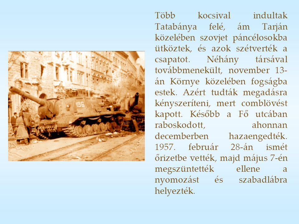 Több kocsival indultak Tatabánya felé, ám Tarján közelében szovjet páncélosokba ütköztek, és azok szétverték a csapatot.