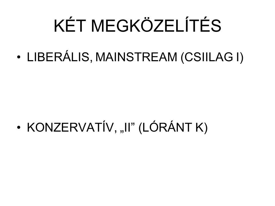 """KÉT MEGKÖZELÍTÉS LIBERÁLIS, MAINSTREAM (CSIILAG I) KONZERVATÍV, """"II"""" (LÓRÁNT K)"""