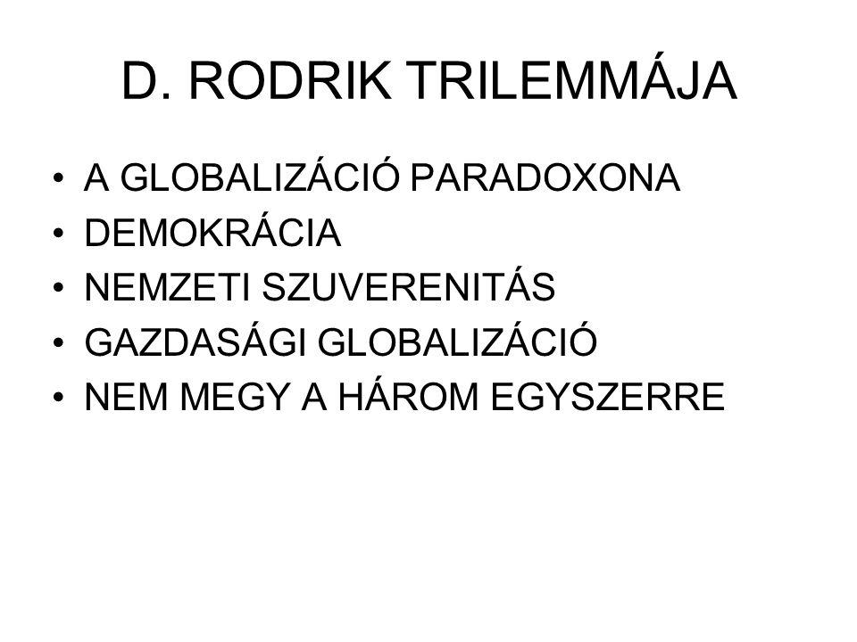 D. RODRIK TRILEMMÁJA A GLOBALIZÁCIÓ PARADOXONA DEMOKRÁCIA NEMZETI SZUVERENITÁS GAZDASÁGI GLOBALIZÁCIÓ NEM MEGY A HÁROM EGYSZERRE