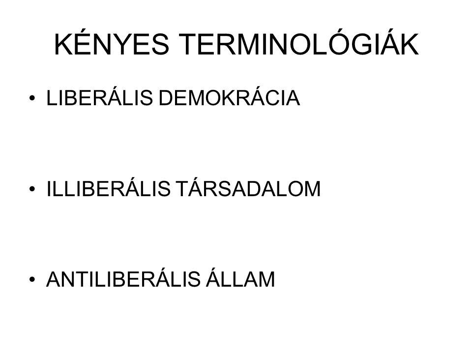 KÉNYES TERMINOLÓGIÁK LIBERÁLIS DEMOKRÁCIA ILLIBERÁLIS TÁRSADALOM ANTILIBERÁLIS ÁLLAM