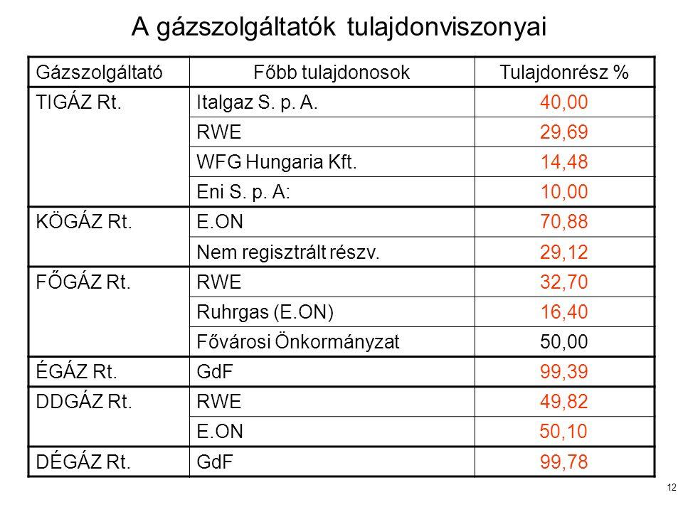 12 A gázszolgáltatók tulajdonviszonyai GázszolgáltatóFőbb tulajdonosokTulajdonrész % TIGÁZ Rt.Italgaz S. p. A.40,00 RWE29,69 WFG Hungaria Kft.14,48 En