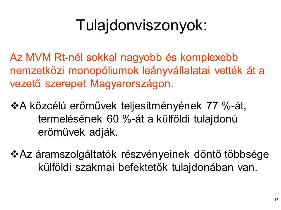 15 Tulajdonviszonyok: Az MVM Rt-nél sokkal nagyobb és komplexebb nemzetközi monopóliumok leányvállalatai vették át a vezető szerepet Magyarországon. 