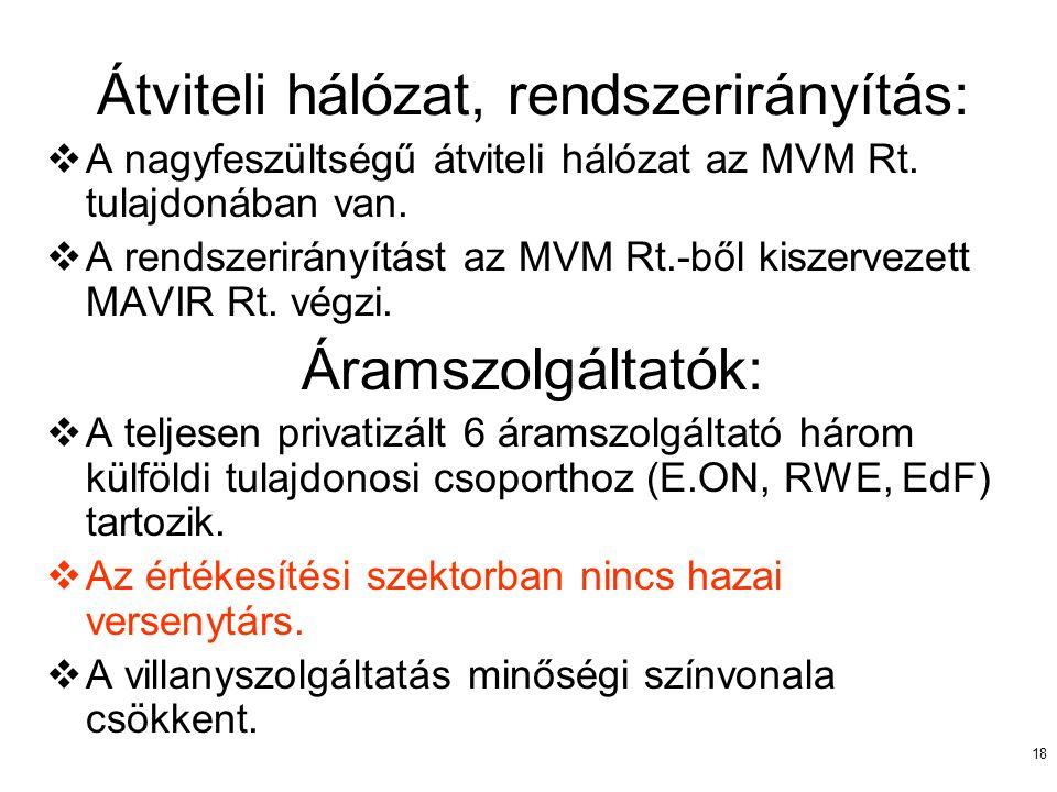 18 Átviteli hálózat, rendszerirányítás:  A nagyfeszültségű átviteli hálózat az MVM Rt. tulajdonában van.  A rendszerirányítást az MVM Rt.-ből kiszer