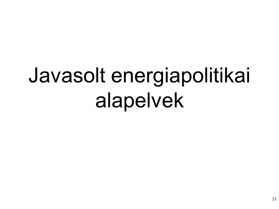 23 Javasolt energiapolitikai alapelvek