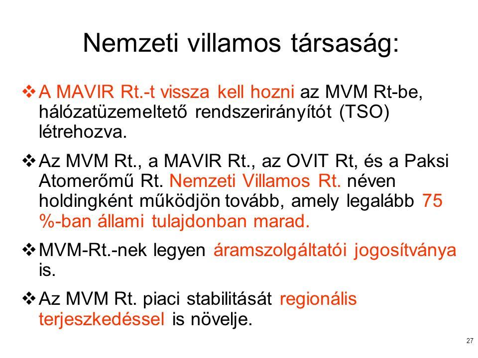 27 Nemzeti villamos társaság:  A MAVIR Rt.-t vissza kell hozni az MVM Rt-be, hálózatüzemeltető rendszerirányítót (TSO) létrehozva.