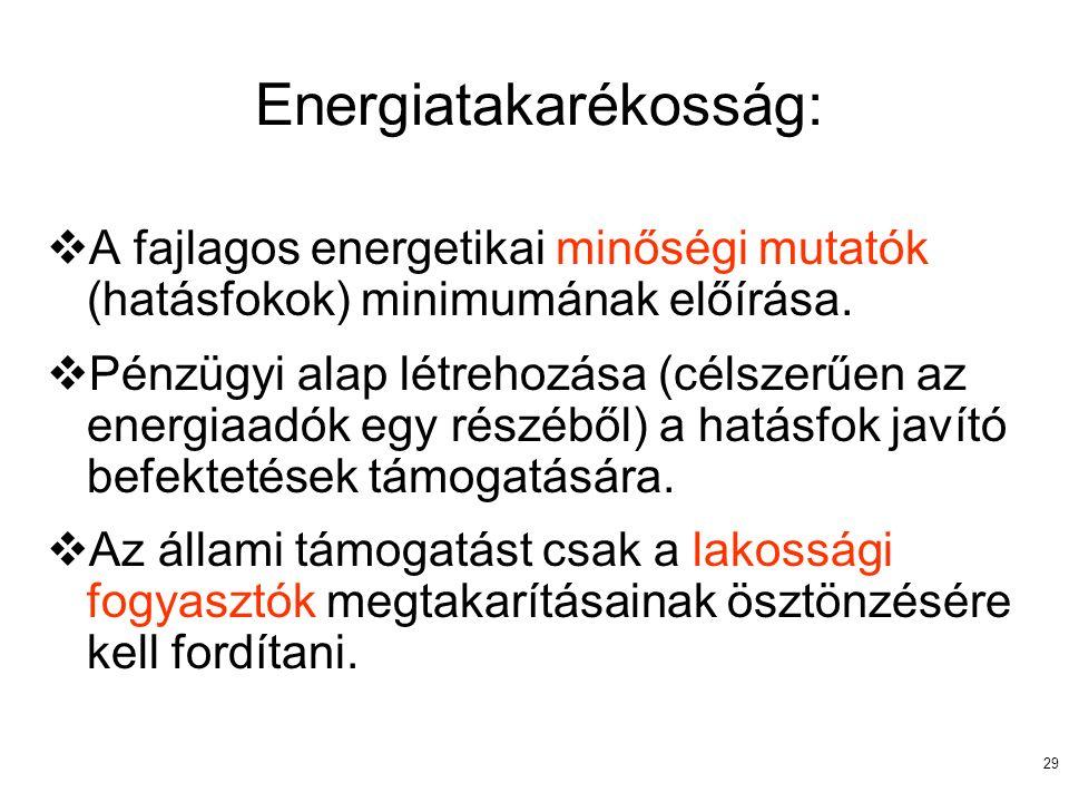 29 Energiatakarékosság:  A fajlagos energetikai minőségi mutatók (hatásfokok) minimumának előírása.  Pénzügyi alap létrehozása (célszerűen az energi