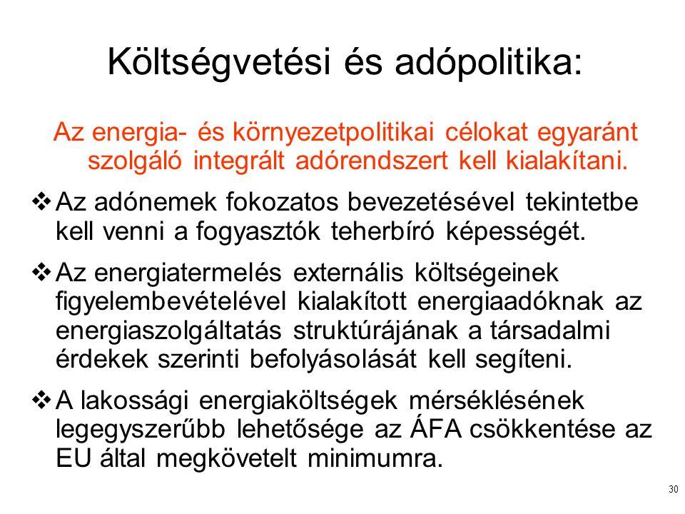 30 Költségvetési és adópolitika: Az energia- és környezetpolitikai célokat egyaránt szolgáló integrált adórendszert kell kialakítani.  Az adónemek fo