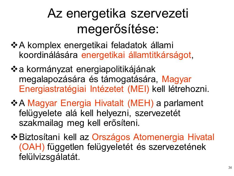 34 Az energetika szervezeti megerősítése:  A komplex energetikai feladatok állami koordinálására energetikai államtitkárságot,  a kormányzat energia
